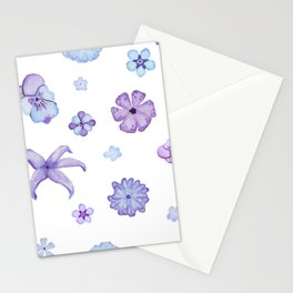 Purple Watercolor Floral Pattern Stationery Cards