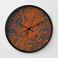 austin Wall Clocks featuring Austin map by Map Map Maps