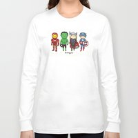 super heroes Long Sleeve T-shirts featuring Super Cute Heroes: Avengers! by Kayla Dolby