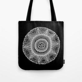 Cell Mandala (White on Black) Tote Bag