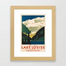Lovely Lake Louise vintage travel ad Framed Art Print