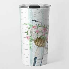 White Vintage bicycle in a Birch Forest Travel Mug