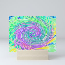 Turquoise Blue and Purple Abstract Swirl Mini Art Print