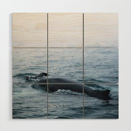 Humpback whale in the minimalist fog - photographing animals Wood Wall Art