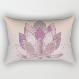 Elegant Glamorous Pink Rose Gold Lotus Flower Rectangular Pillow