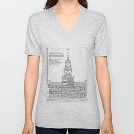Independence Hall Blueprint Schematics Unisex V-Neck
