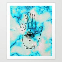 Hamsa Horus Eye Turquoise Blue Marble Art Print