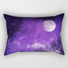 Nightsky with Full Moon in Ultra Violet Rectangular Pillow