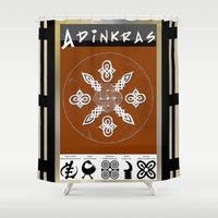 tote bag Shower Curtains featuring Adinkra Symbol Tote Bag by Sarah Pearl
