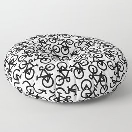 Black Bikes Pattern Floor Pillow
