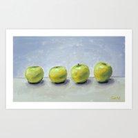 Green apples Art Print