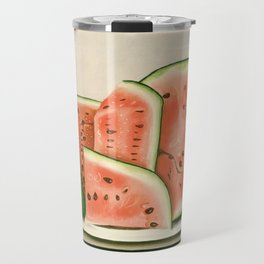 Watermelon on a Plate Painting Travel Mug