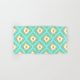 Gold & Turquoise Ikat Pattern Hand & Bath Towel