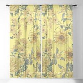 Vintage & Shabby Chic - Yellow Summer Flowers Garden Sheer Curtain
