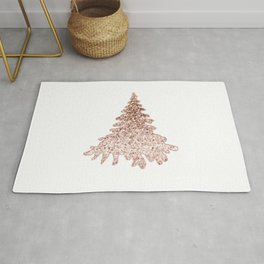 Sparkling christmas tree rose gold ombre Rug