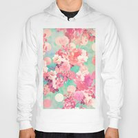 preppy Hoodies featuring Romantic Pink Retro Floral Pattern Teal Polka Dots  by Girly Trend