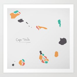 Cape Verde Map with states and modern round shapes Art Print