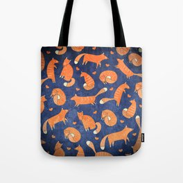 Foxes at Night - Cute Fox Pattern Tote Bag