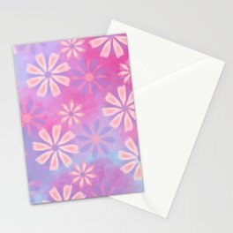Girly pink teal lavender watercolor floral patttern Stationery Cards