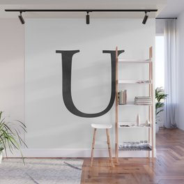 Letter U Initial Monogram Black and White Wall Mural