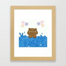 Cute Cat in Bath Tub Framed Art Print