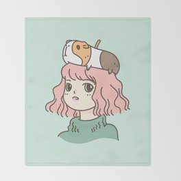 Guinea Pig Lady Throw Blanket