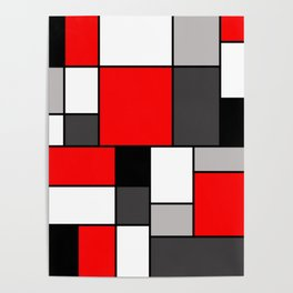 Red Black and Grey squares Poster