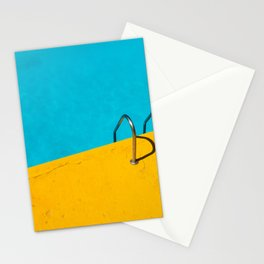 SWIMMING POOL WITH STAINLESS STEEL LADDER Stationery Cards