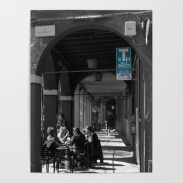 Bologna Tabacchi Blue Street Photography Black and White Poster