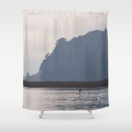 Lonely black-necked swan Shower Curtain