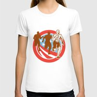 crossfit T-shirts featuring American Crossfit Runners USA Flag Circle Retro  by patrimonio