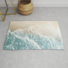 Soft Teal Gold Ocean Dream Waves #1 #water #decor #art #society6 Rug