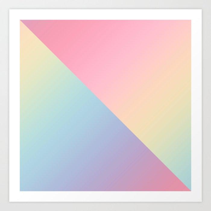 Geometric abstract rainbow gradient Art Print