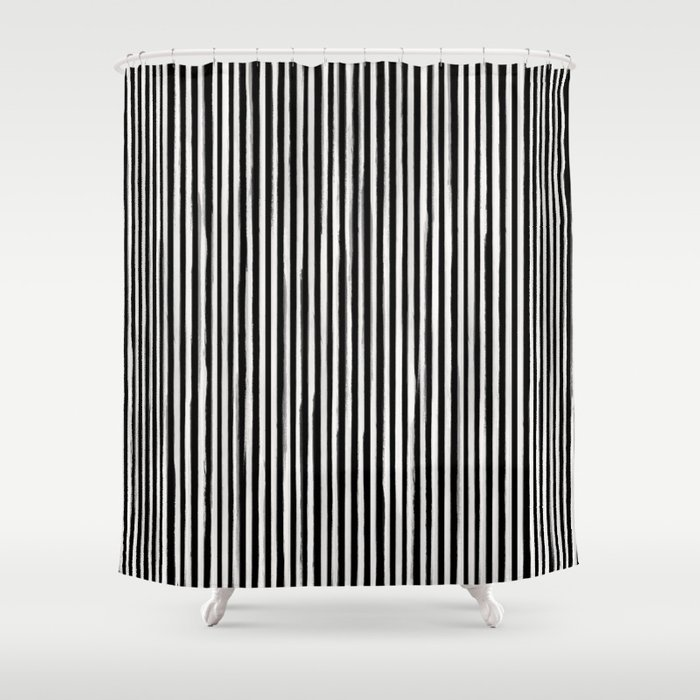 Skinny Stroke Vertical Off White on Black Shower Curtain by ...