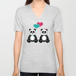 Panda Freefall in Pink Unisex V-Neck