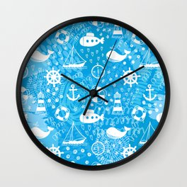 Doodle seamless pattern with whales, sailing ships, wheels, lifebuoys and lighthouses. Wall Clock