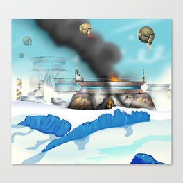 Classic Ice planet Space battle.  Canvas Print