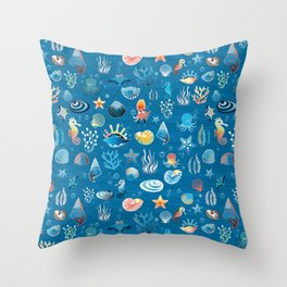 playful sea life pattern Throw Pillow