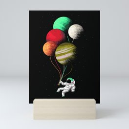 Astronaut Floating In Space With Planet Balloons Art Mini Art Print