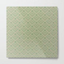 Paris - Classic Green Beige Geometric Minimalism Metal Print