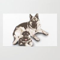 german Area & Throw Rugs featuring German Shepard  by Cat Milchard