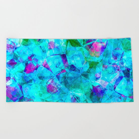 Water blue triangles-abstract pattern Beach Towel