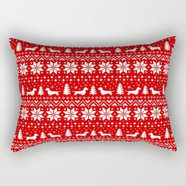 Wirehaired Dachshund Silhouettes Christmas Sweater Pattern Rectangular Pillow