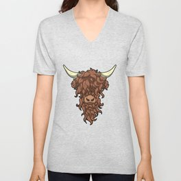 Scottish Highland Cow Wild Hairstyle Gift Unisex V-Neck