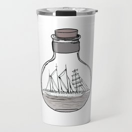 the ship in the bulb . illustration . Travel Mug