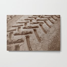 Tire tracks in the Sand Metal Print