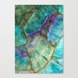 Stone Mosaic Fluorite rock art Canvas Print