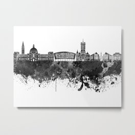 Cardiff skyline in black watercolor Metal Print