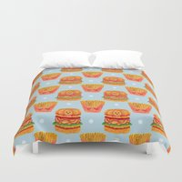 french fries Duvet Covers featuring Hamburger and French Fries Pattern by haidishabrina
