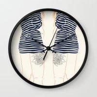 stripes Wall Clocks featuring Stripes by Elly Liyana